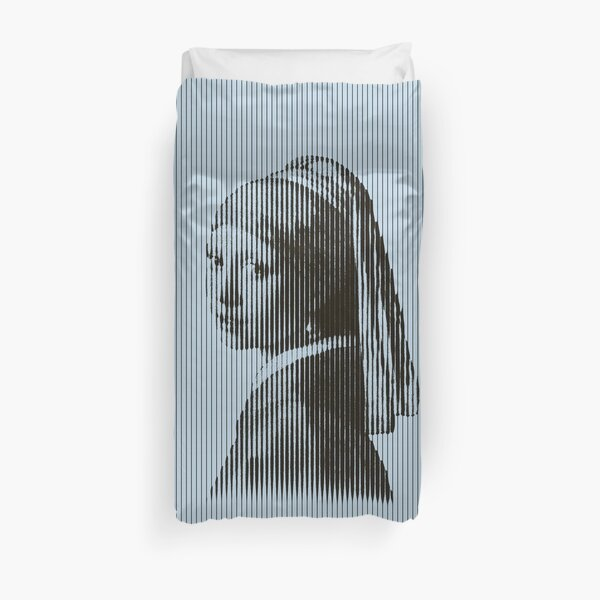 Girl with the Pearl Earring Painting in Vertical Stripes Pattern Duvet Cover