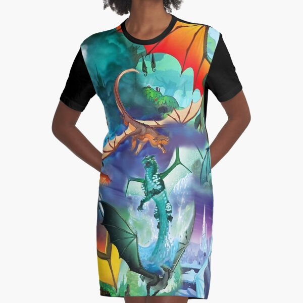 Wing of fire all dragon Pattern Background Graphic T-Shirt Dress