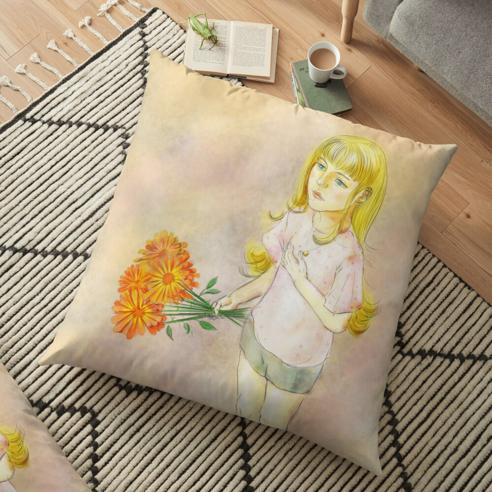 Gril with calendula Floor Pillow