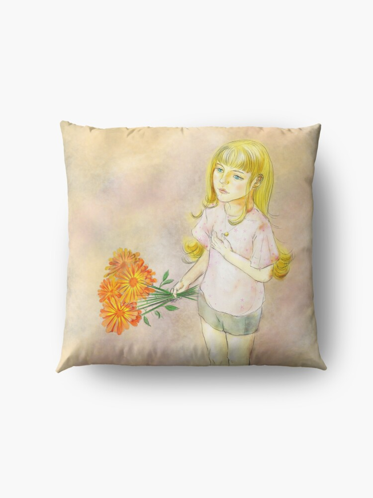 Alternate view of Gril with calendula Floor Pillow