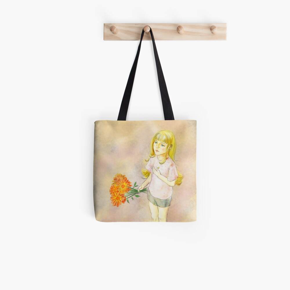 Gril with calendula Tote Bag