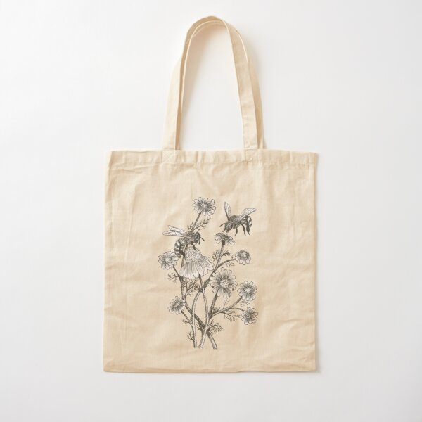 bees and chamomile on honey background  Cotton Tote Bag