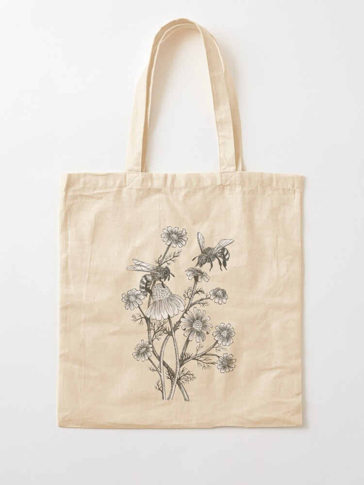 Alternate view of bees and chamomile on honey background  Tote Bag