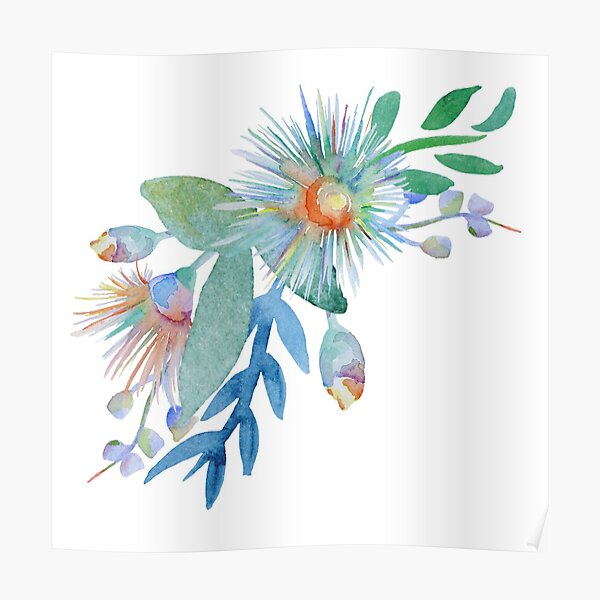 Watercolour Springtime Australian Pattern Poster