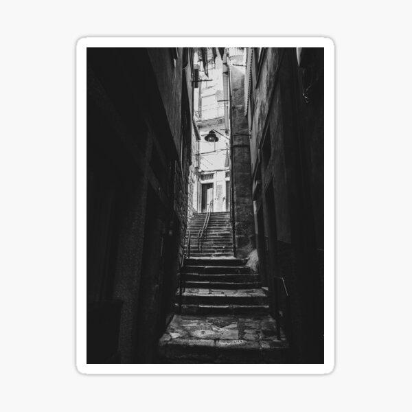 Black & white tight alley in Porto, Portugal Sticker