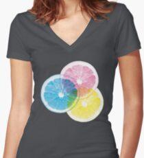 Full Color Orange Fitted V-Neck T-Shirt