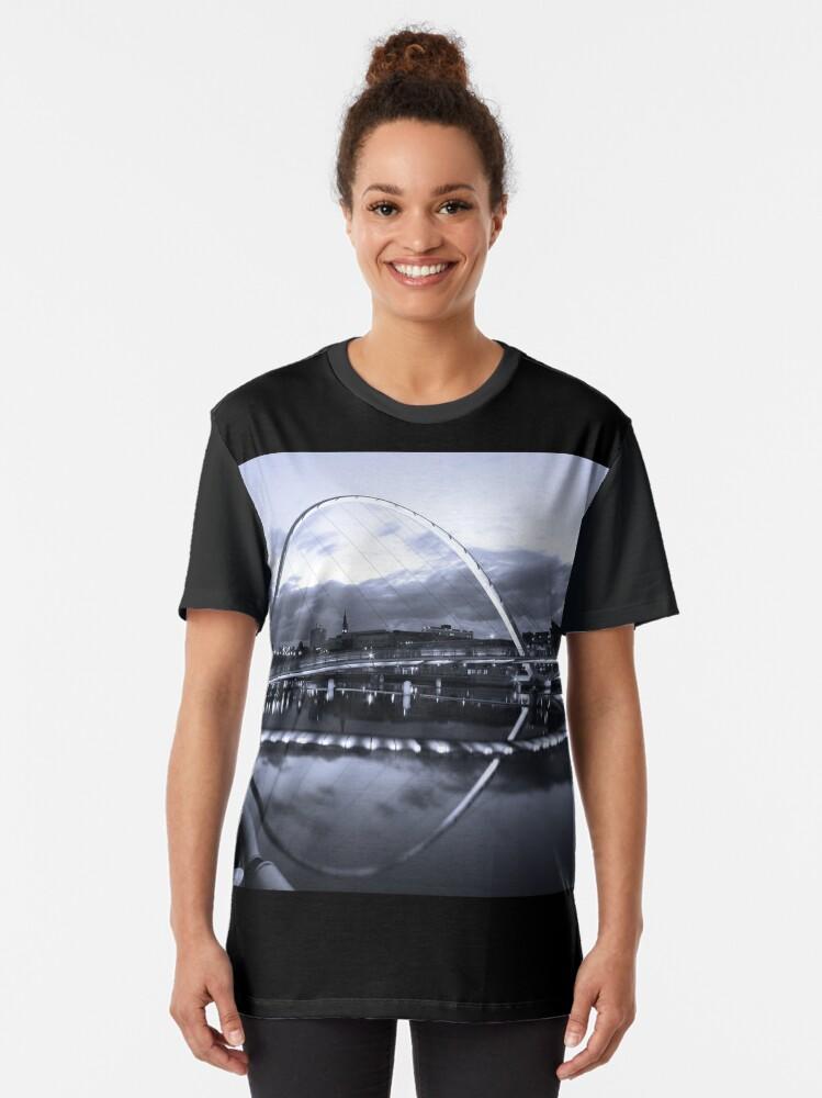 Alternate view of Gateshead Millennium Bridge, Tyne and Wear Graphic T-Shirt