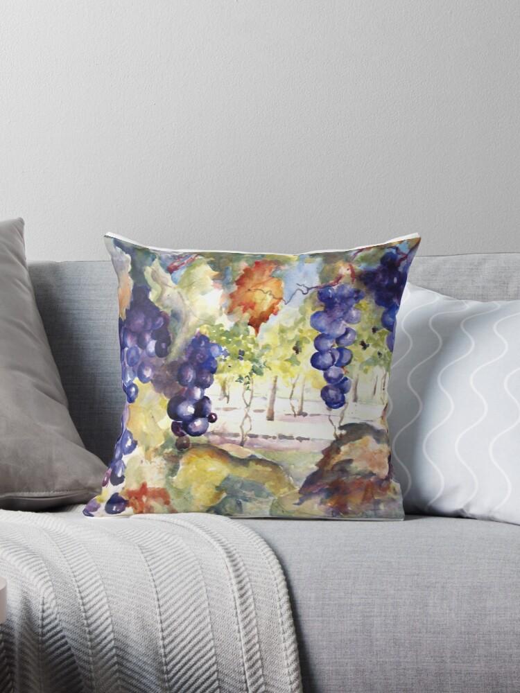 In The Vineyard Throw Pillow By Artzart Redbubble