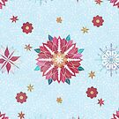 Trendy Winter Red Poinsettias White Snowflakes Pattern by InovArtS