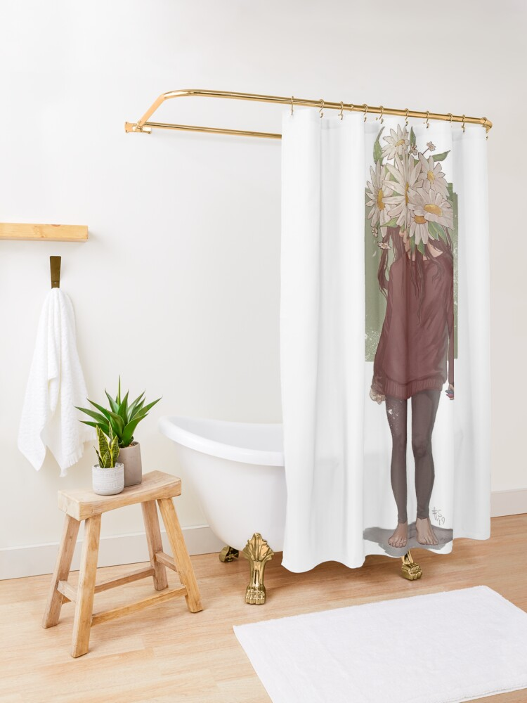 Alternate view of care and the daisies Shower Curtain