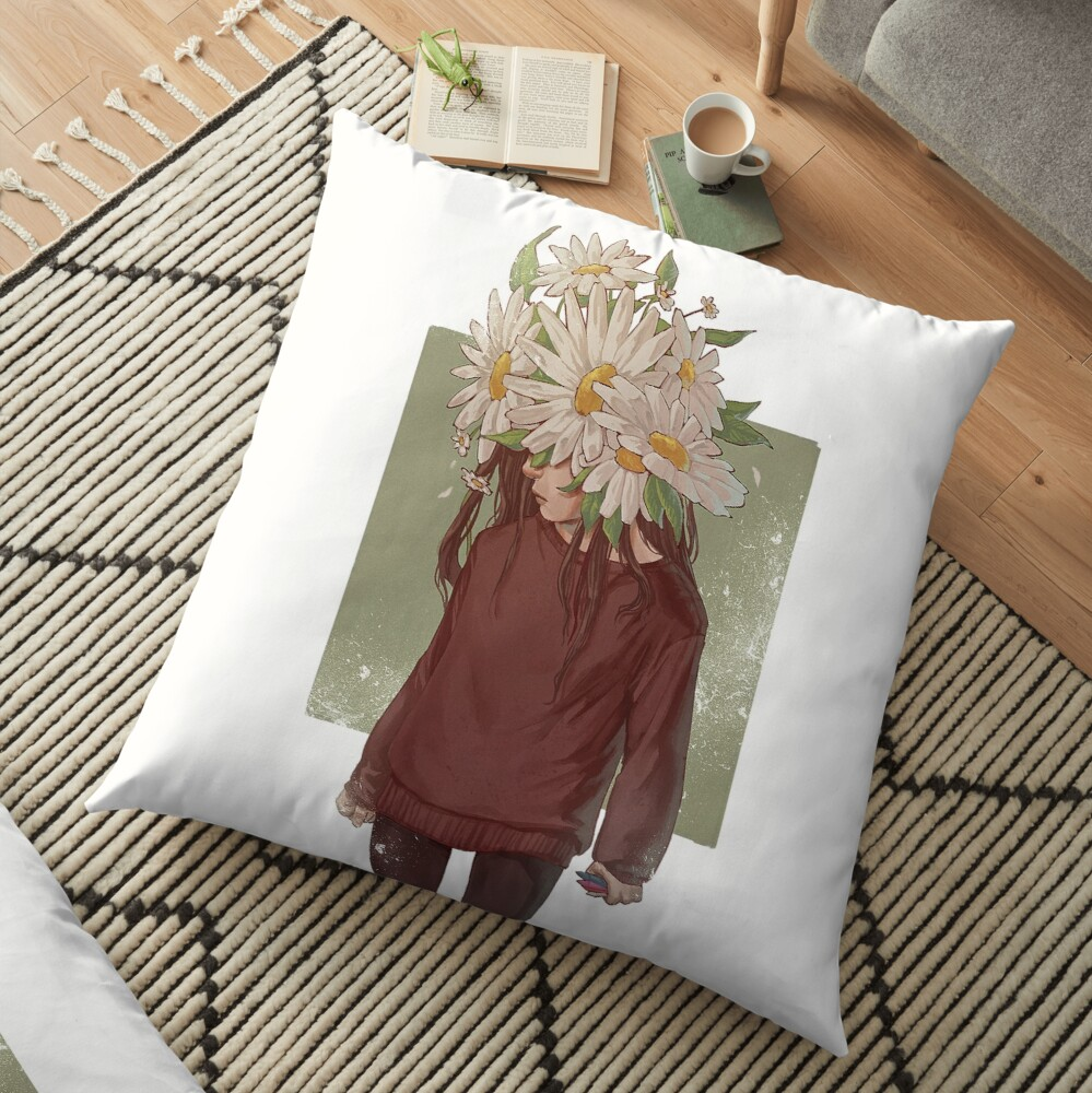 care and the daisies Floor Pillow
