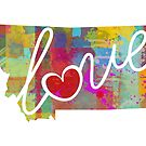 Montana Love - Bright and Colorful Map Art by traciwithani