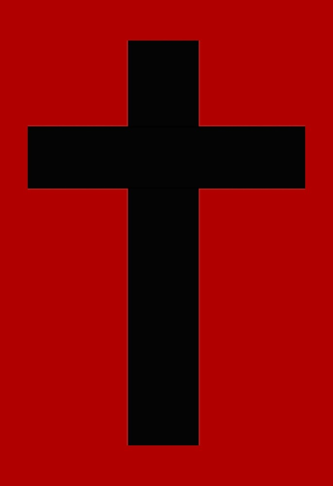 Red and Black Goth Cross by mintdawn