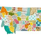 Montana Love - Bright and Colorful Collage Quilt State Map Art by traciwithani
