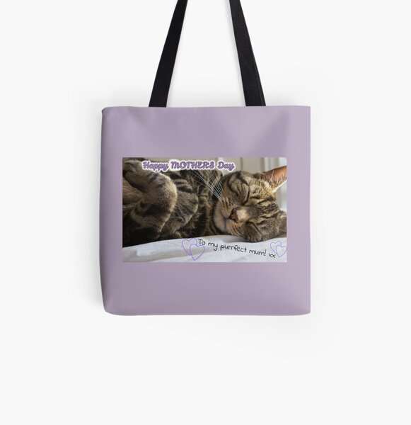 Cute Sleeping Tabby Mother's Day Card All Over Print Tote Bag