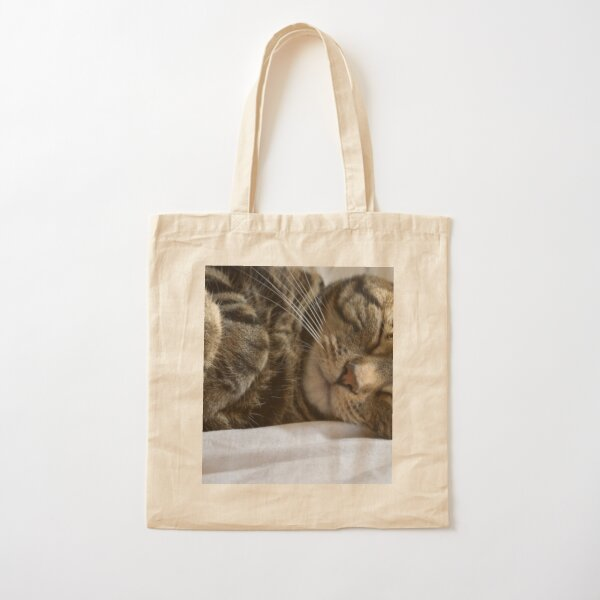 Cute Sleeping Tabby Kitty Cotton Tote Bag