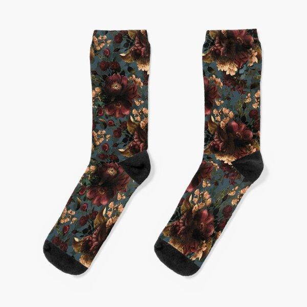 Moody florals - Mystic Night 10 Socks