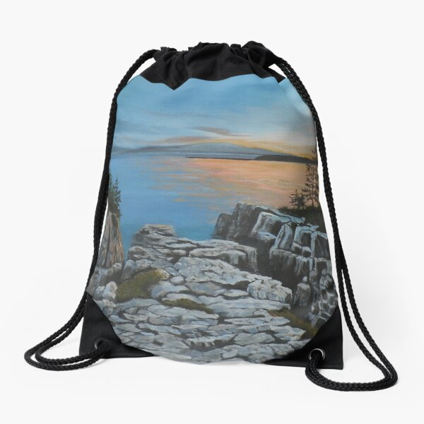 Schoodic Point,  Acadia Maine Drawstring Bag