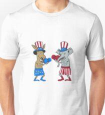 Democrat Donkey Boxer and Republican Elephant Mascot Cartoon T-Shirt