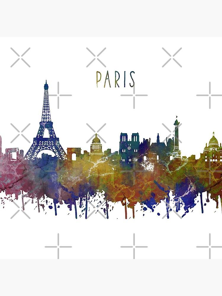 Paris, Paris skyline, Paris France, watercolor Paris by Rosaliartbook