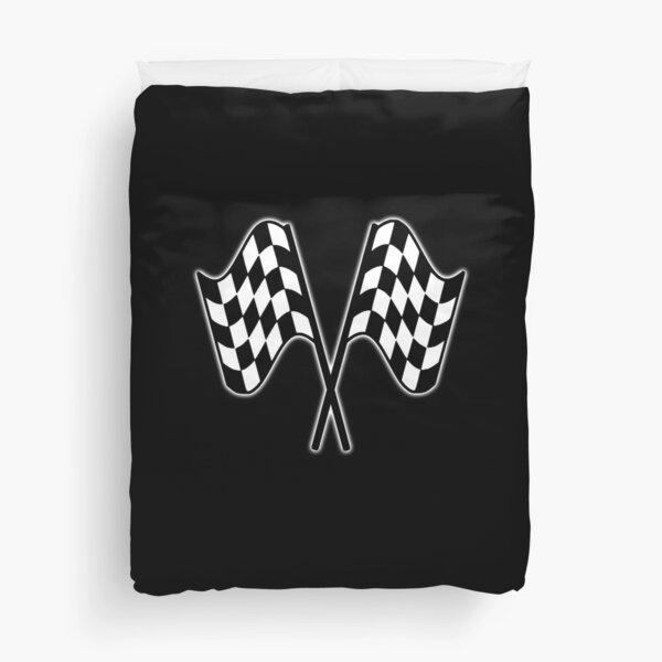 MOTOR SPORT, RACING, Racing Cars, Race, Checkered Flag, Le Mans, Flutter, WIN, WINNER, Chequered Flag, Double, Finish line, BLACK. Duvet Cover