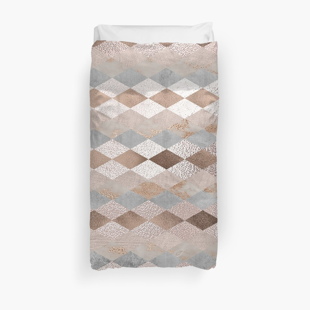 Small Copper and Blush Rose Gold Marble Argyle Pattern Duvet Cover