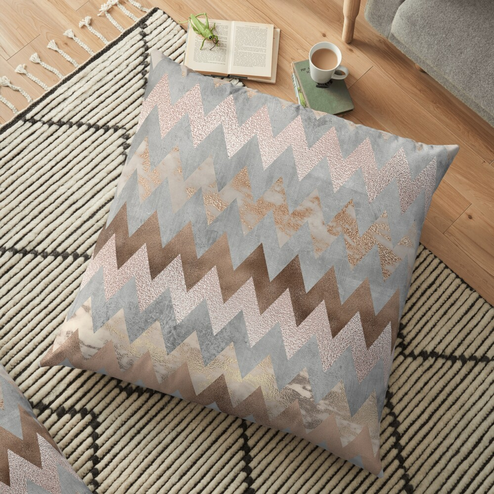 Copper and Blush Rose Gold Marble Chevron Pattern Floor Pillow