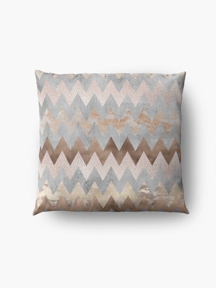 Alternate view of Copper and Blush Rose Gold Marble Chevron Pattern Floor Pillow
