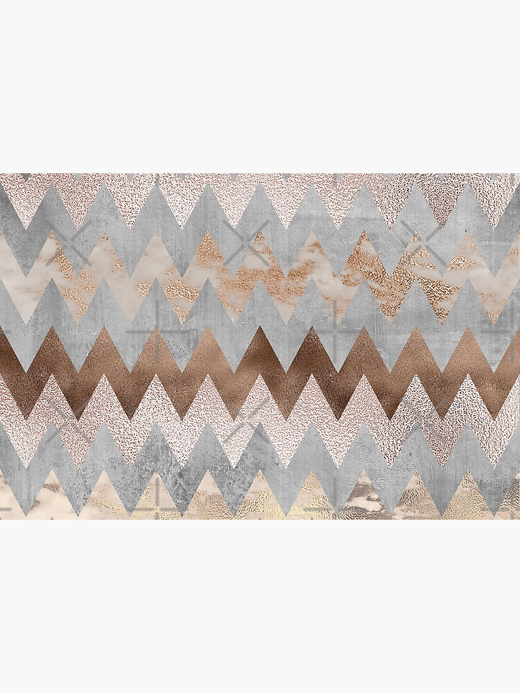 Copper and Blush Rose Gold Marble Chevron Pattern by UtArt