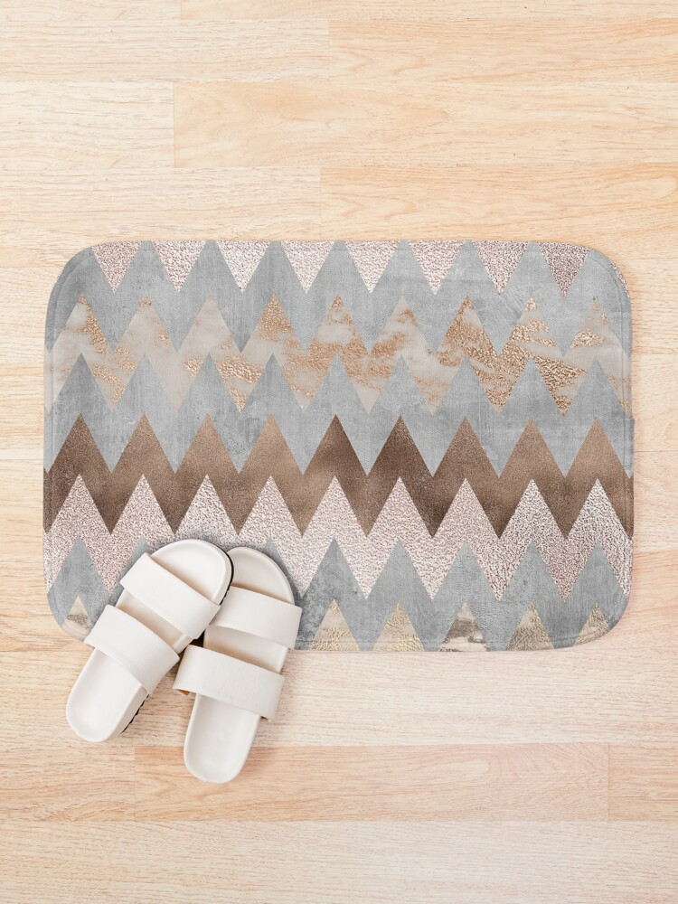 Alternate view of Copper and Blush Rose Gold Marble Chevron Pattern Bath Mat