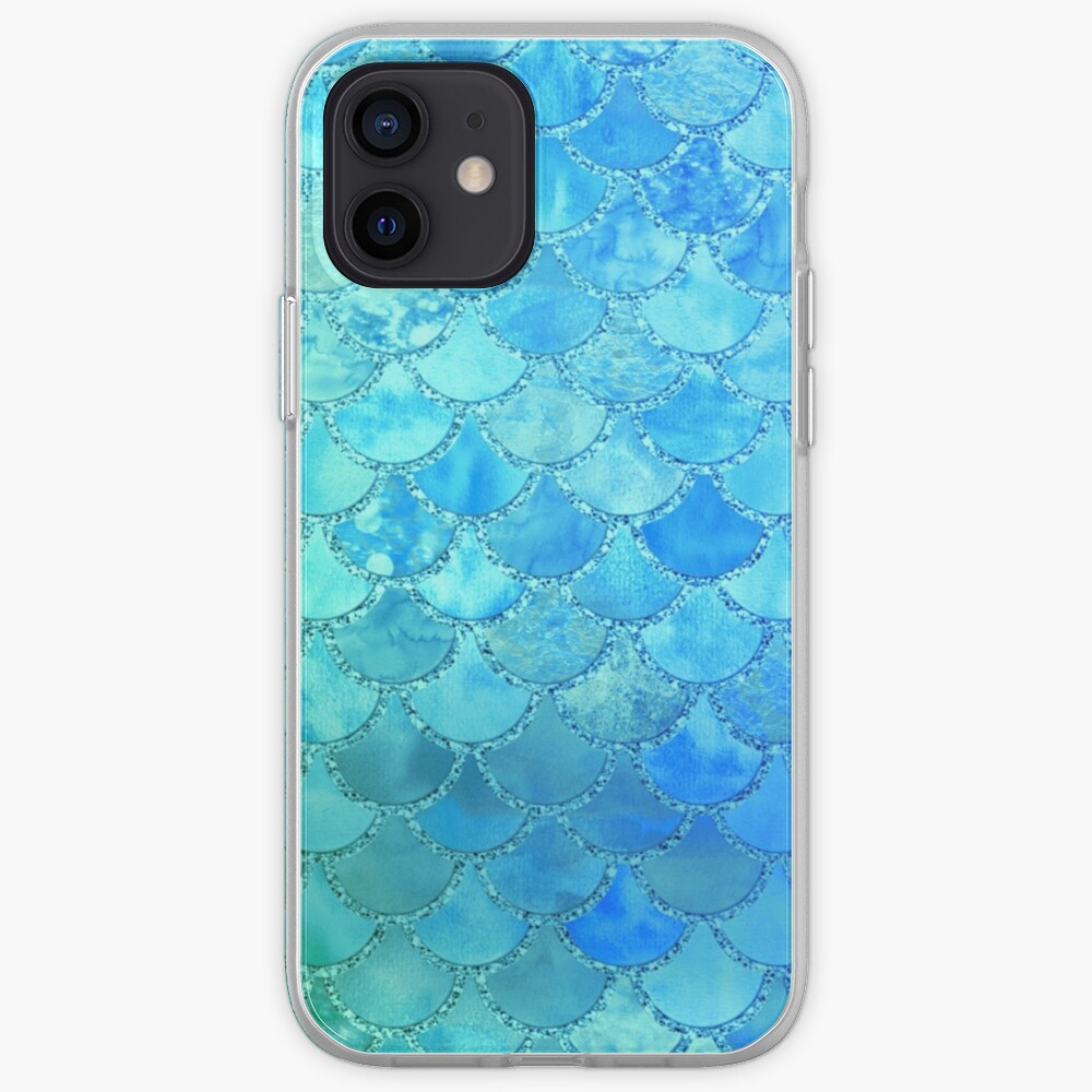 Turquoise Green and BLue Watercolor Mermaid Scales iPhone Case & Cover
