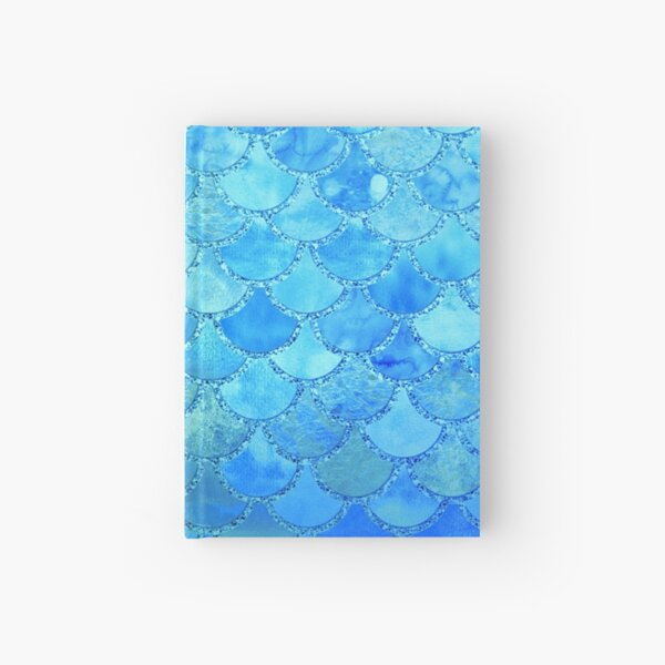 Turquoise Green and BLue Watercolor Mermaid Scales Hardcover Journal