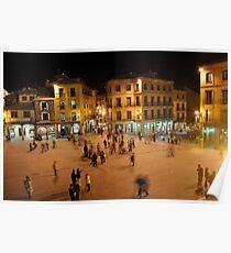 Busy Plaza in Segovia, Spain Poster