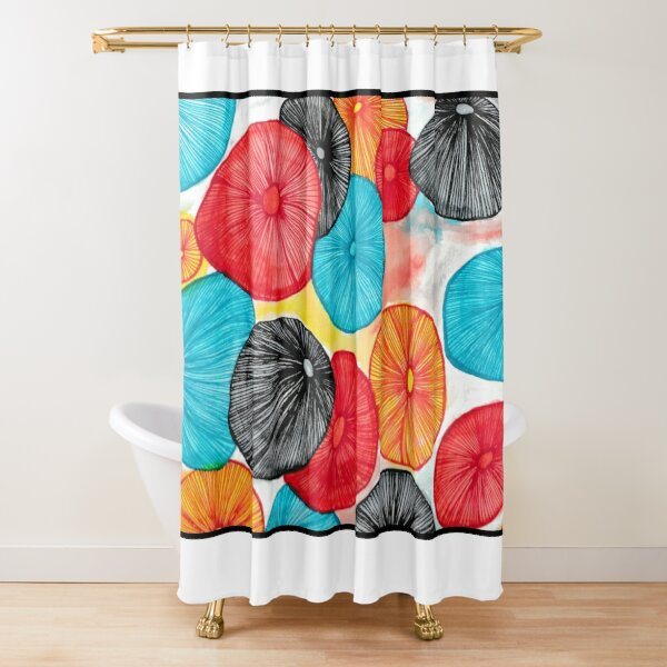 Mushroom Abstract Watercolor and Pen Shower Curtain