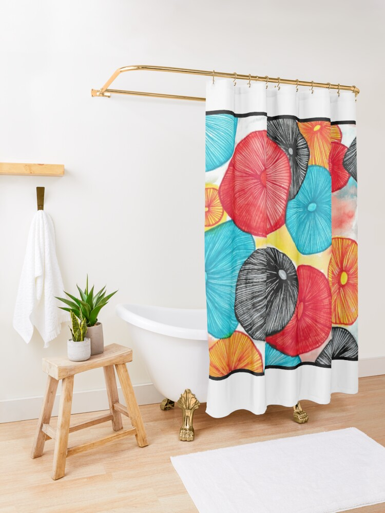 Alternate view of Mushroom Abstract Watercolor and Pen Shower Curtain