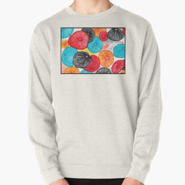 Mushroom Abstract Watercolor and Pen Pullover Sweatshirt