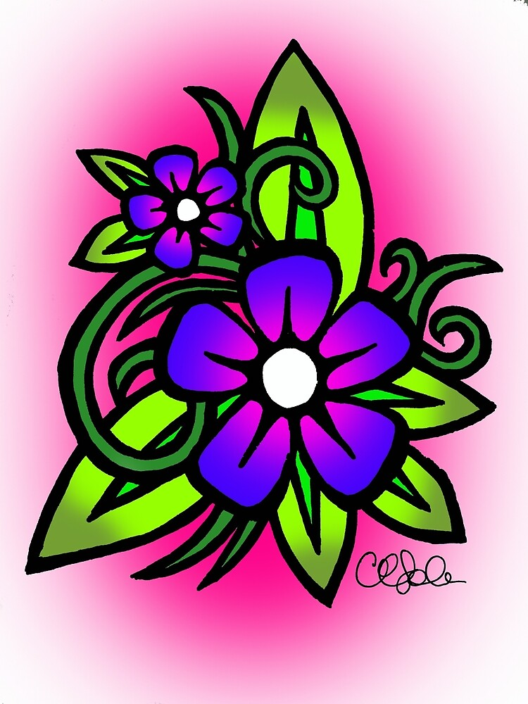 Flowers in Pink and Blue by cathysola