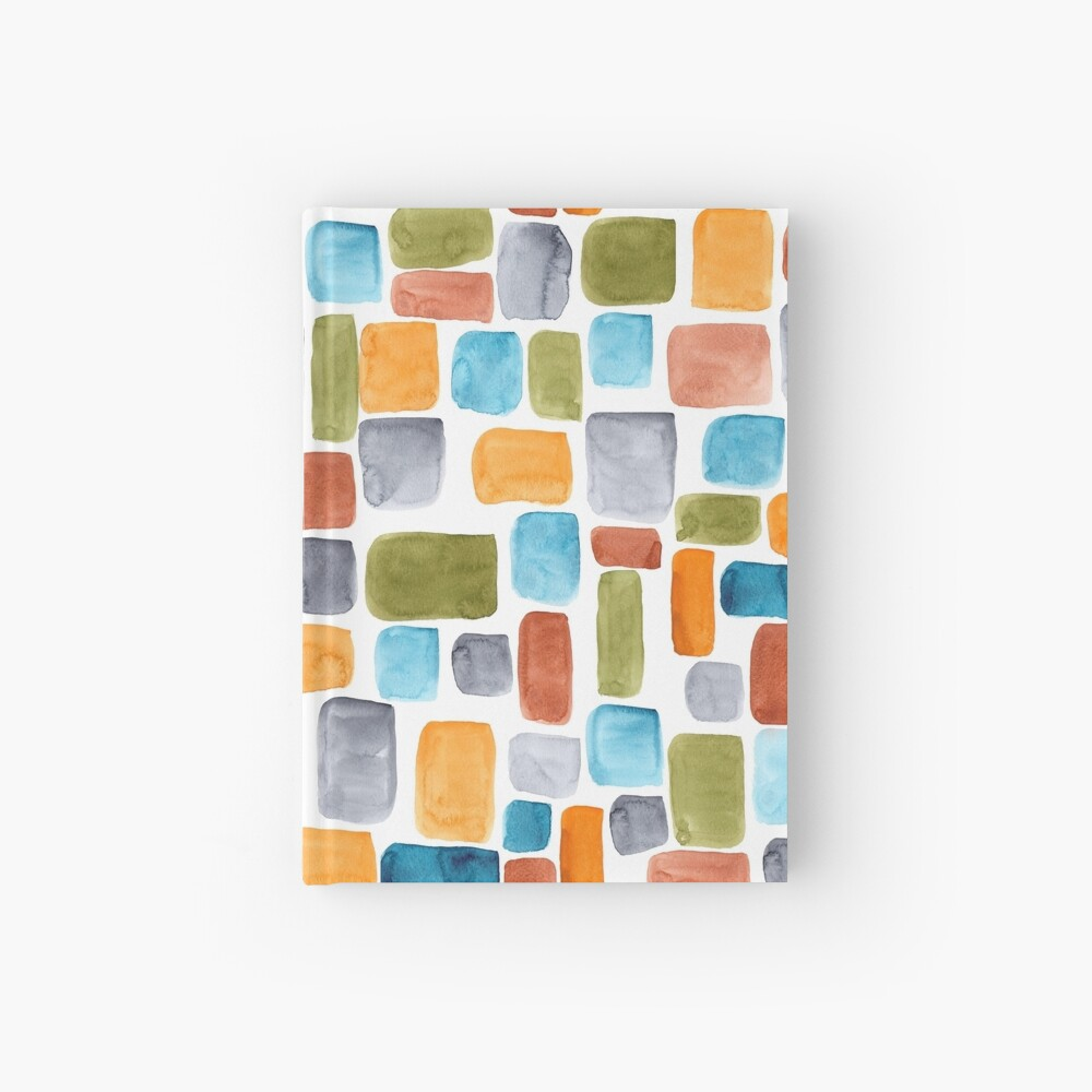 Color blocking: Hand-painted watercolor rectangle shapes in autumnal colors olive, teal, orange, rust and turquoise as a seamless surface pattern design Hardcover Journal