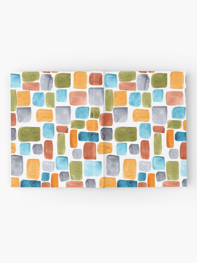 Alternate view of Color blocking: Hand-painted watercolor rectangle shapes in autumnal colors olive, teal, orange, rust and turquoise as a seamless surface pattern design Hardcover Journal