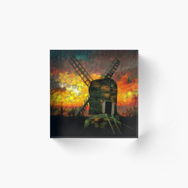 A digital painting of The Postmill (Black Mill) Mousehold Heath, Norfolk 1840 Acrylic Block