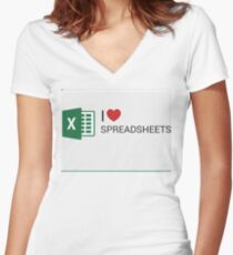 Spreadsheet Love Women's Fitted V-Neck T-Shirt