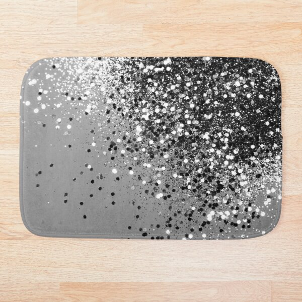 Sparkling Silver Gray Lady Glitter #1 (Faux Glitter) #shiny #decor #art Bath Mat