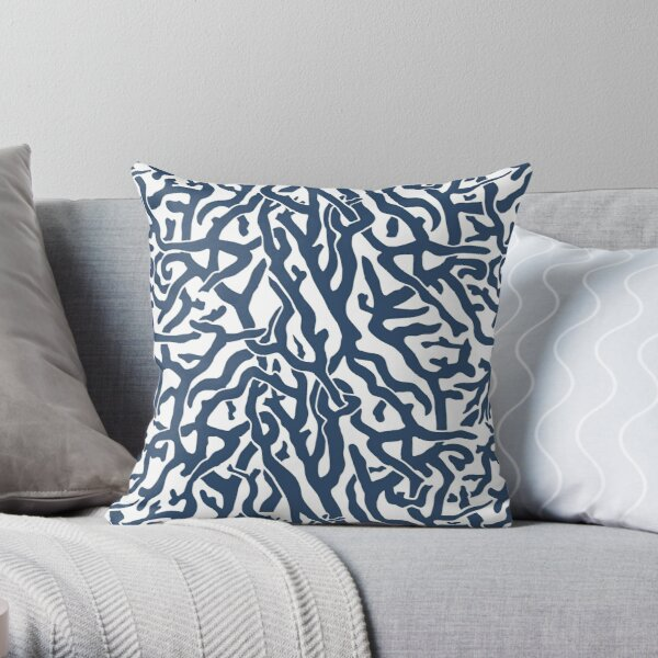 Coral Reef Pattern | Navy Blue White Coastal Beach House Throw Pillow