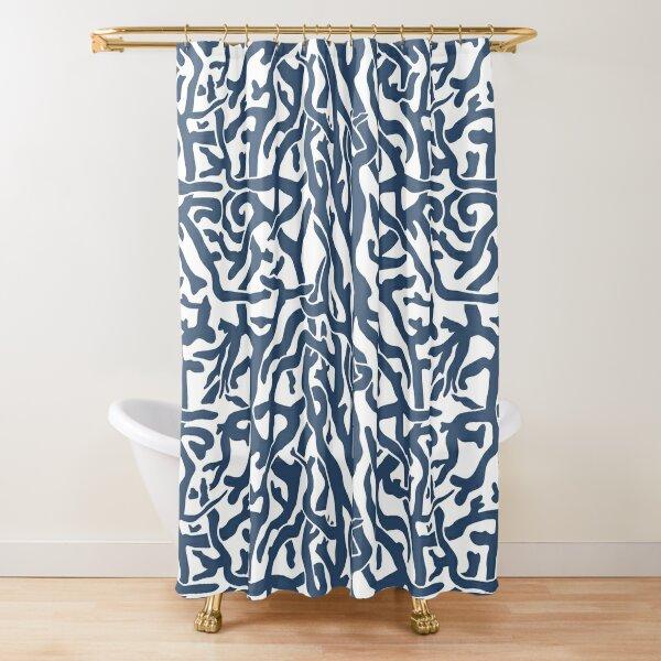 Coral Reef Pattern | Navy Blue White Coastal Beach House Shower Curtain