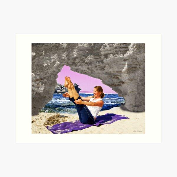 Yoga by the sea Art Print