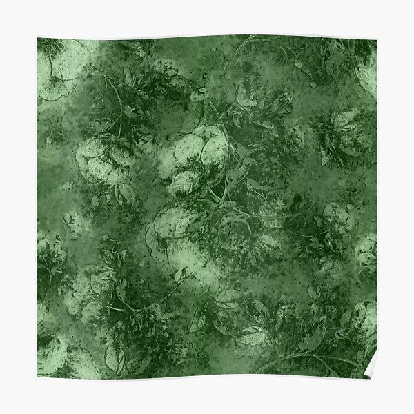 Olive Sage Green Floral  Poster