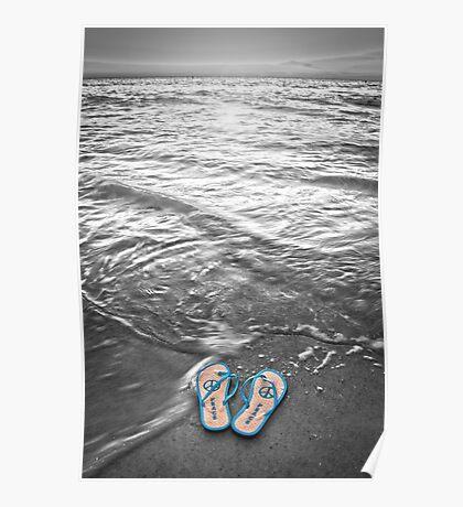 """Peace Walk"" - peace flip flops on beach Poster"