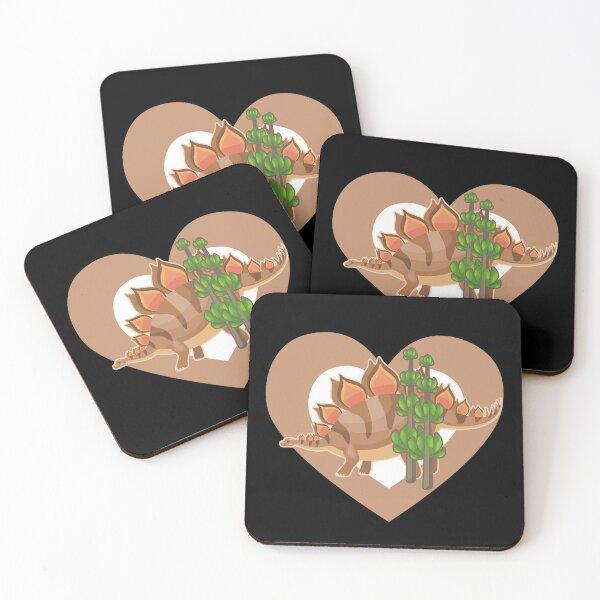 Cute Stegosaurus Heart for Dinosaur Lovers Coasters (Set of 4)