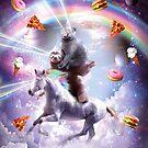 Laser Eyes Space Cat On Sloth Unicorn - Rainbow by SkylerJHill