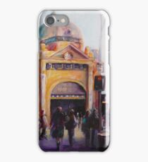 Morning bustle Flinders street Station Melbourne iPhone Case/Skin